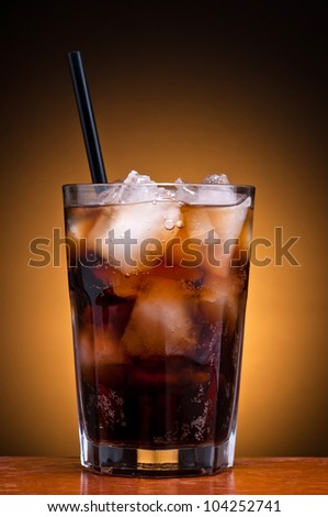 fresh cool glass of cola drink with ice