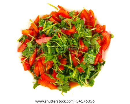 Fresh Coriander and sweet pepper salad. Close up