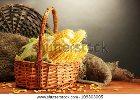 fresh corn in basket, on wooden table, on grey background - stock photo