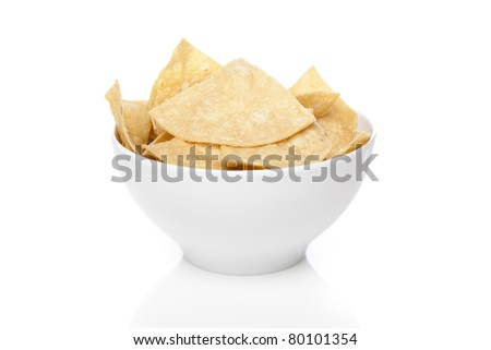 Fresh corn tortilla chips against a white background