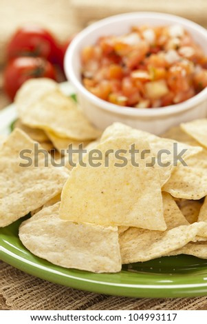 Fresh Corn Tortilla Chips and Salsa background