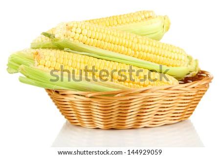Fresh corn vegetable in basket isolated on white