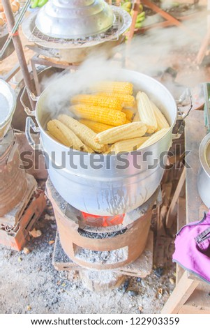 Fresh corn was steamed in the pot.