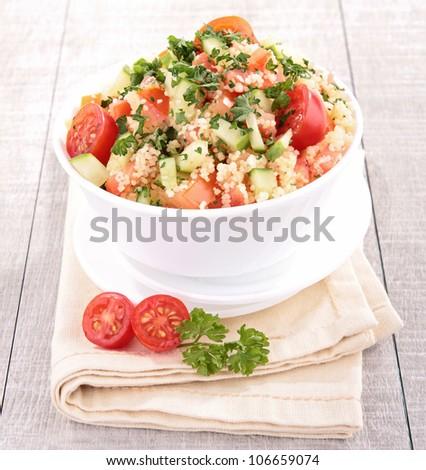 fresh couscous salad with vegetables