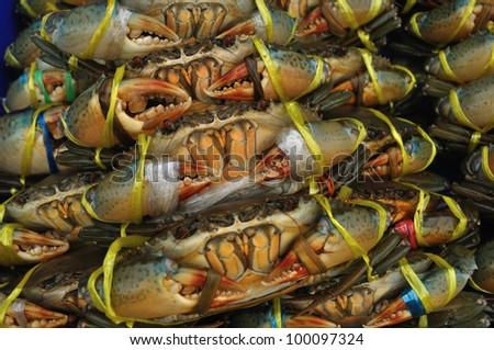 Fresh crabs on the market