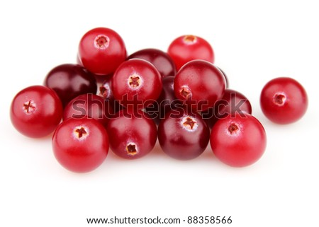 Fresh cranberry on a white background