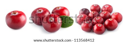 Fresh cranberry on white background