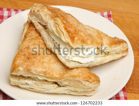 Fresh cream apple turnover pastries.