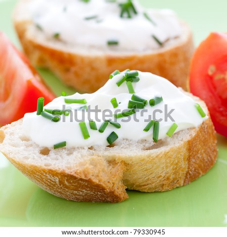fresh cream cheese on baguette