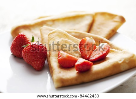 fresh crepes with fresh strawberries