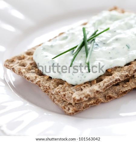fresh crispbread with quark and chives
