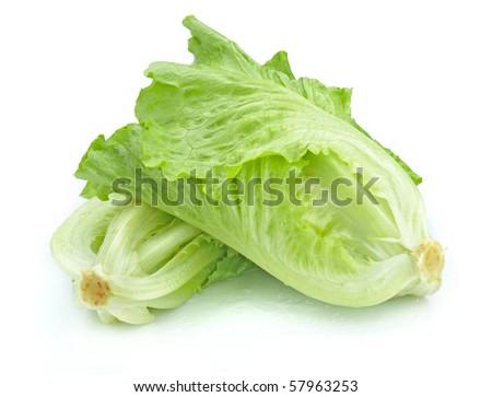Fresh crispy lettuce heart on white background