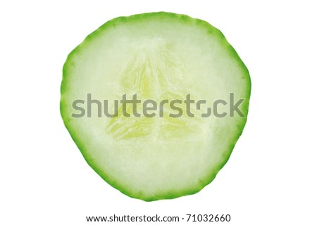 Fresh cucumber slice isolated on white background. Clipping path.