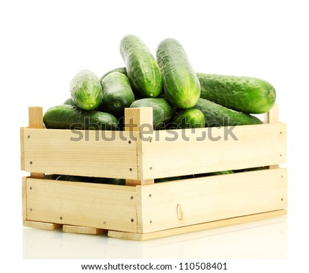 fresh cucumbers in wooden box isolated on white