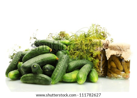 fresh cucumbers, pickles and dill  isolated on white