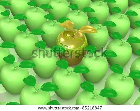 Fresh delicious apples in a rows.Leadership concept. This is detailed 3D render.Isolated on white