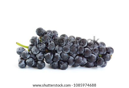Fresh delicious black grape bunch fruit isolated on white background #1085974688