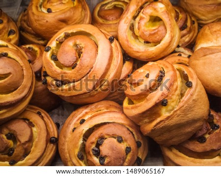 Fresh delicious buns with raisins are on the counter in the bakery. Concept of tasty and unhealthy food, flour, confectionery and bakeries.