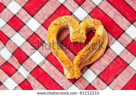 Fresh delicious cookies in a heart shaped