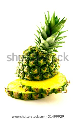 fresh delicious looking green pineapple fruit on a white background with a clipping path