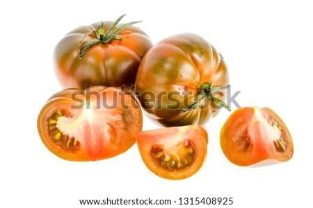 Fresh delicious tomatoes Solanum lycopersicum 'Raf'. Studio Photo Zdjęcia stock ©