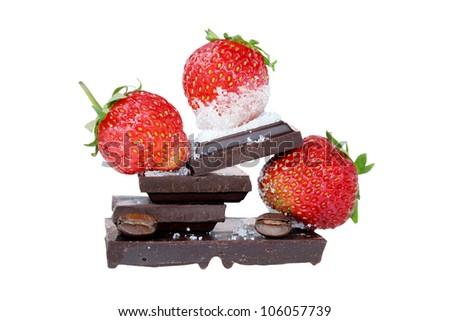 Fresh desert with  strawberry and chocolate. Strawberry desert