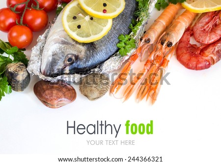 Shutterstock Fresh dorado fish and seafood on a white background