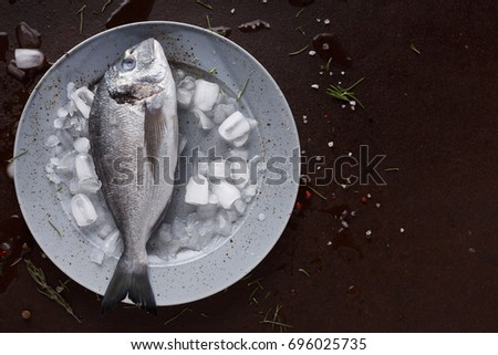 Fresh dorado fish in ice on gray round plate at black background. Organic cooking ingredients for seafood restaurant. Top view, copy space #696025735