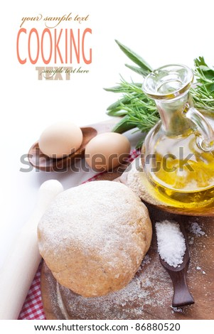 Fresh dough balls with egg, olive oil, fresh herbs and salt.