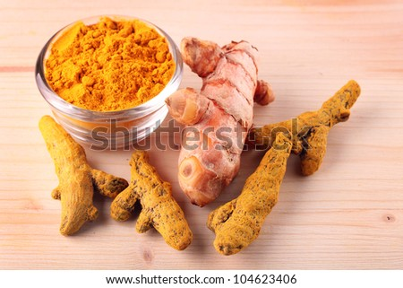 Fresh, dried and powdered turmeric root which is known for its medicinal properties and its use in ayurvedic and herbal medicines in India for centuries. It's also known for anti-cancer properties.