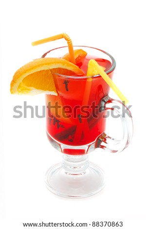 fresh drink cocktail in a glass on a white background