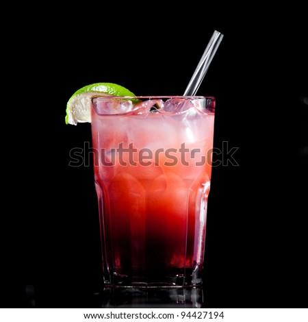Fresh drink on black background