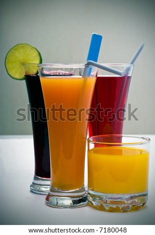 fresh drinks isolated on a white background