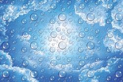 fresh drops background blue glass / wet rainy background, water drops transparent glass blue