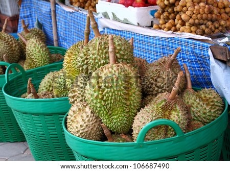 fresh durian at street market in bangkok, Thailand.