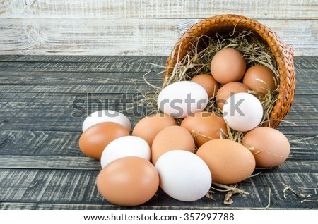 Fresh Egg and duck eggs on wooden background.