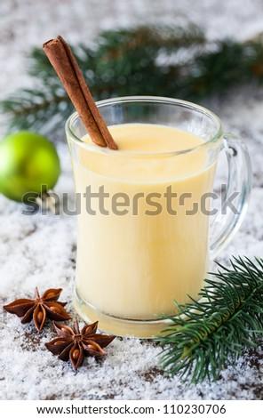fresh eggnog with cinnamon for christmas