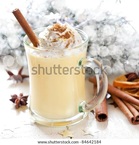 fresh eggnog with cream for christmas
