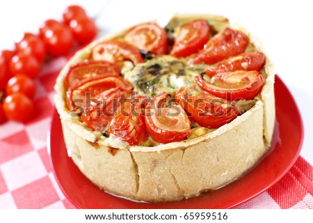 Fresh eggplant and tomato pie