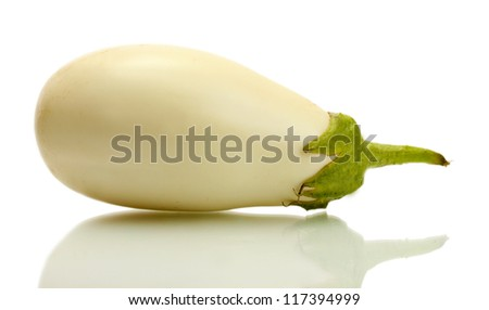Fresh eggplant isolated on white - stock photo