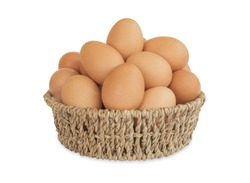 Fresh eggs in a basket isolated on white background with clipping path.
