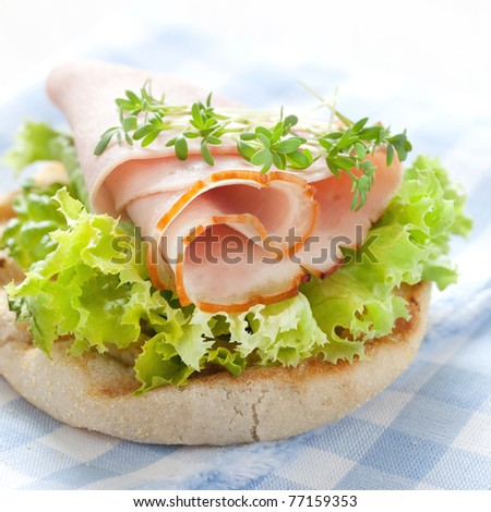 fresh english muffin with ham