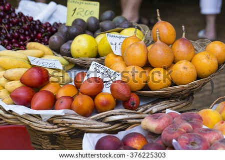 Shutterstock Fresh exotic fruits in Mercado Dos Lavradores. Funchal, Madeira