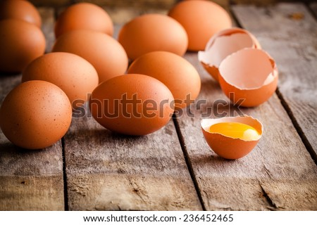 Shutterstock Fresh farm eggs on a wooden rustic background