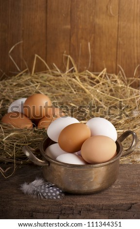Fresh farm eggs ready to be cooked