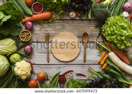 Shutterstock Fresh farmers market fruit and vegetable from above with copy space