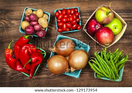 Fresh farmers market fruit and vegetable produce from above