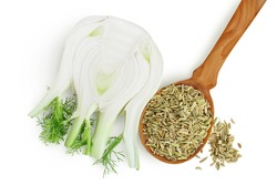 fresh fennel bulb with seed isolated on white background with clipping path and full depth of field. Top view. Flat lay