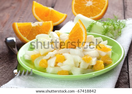 fresh fennel salad with orange in a glass