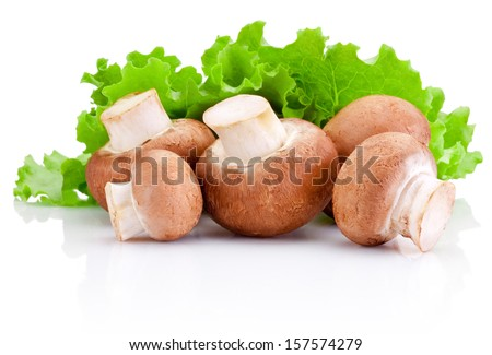 Fresh field mushroom and Leaves of green salad Isolated on white background